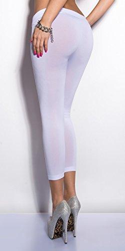 7/8Leggings Capri Pantalon avec fissures Cut Outs en noir et blanc turquoise vert fluo rose corail Taille unique Convient pour XS S M 343638de Fashion Design Weiß