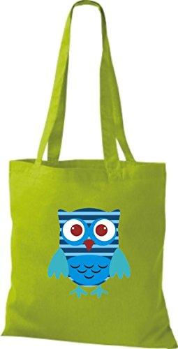 ShirtInStyle Jute Stoffbeutel Bunte Eule niedliche Tragetasche mit Punkte Karos streifen Owl Retro diverse Farbe, natur lime