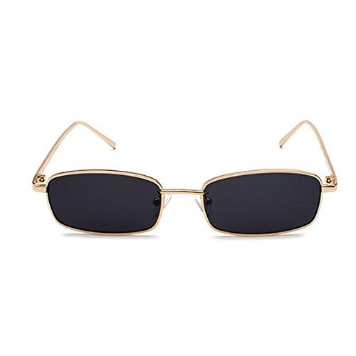 Huicai gafas de sol rectángulo pequeño hombres lente rojo amarillo 2018 marco de metal gafas de sol lente clara para mujeres unisex uv400