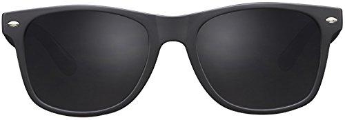 Original La Optica Verspiegelte UV400 Unisex Sonnenbrille Wayfarer Art - Farben, Einzel-/Doppelpacks (Einzelpack Matt Schwarz (POLARISIERTE Gläser: Grau))