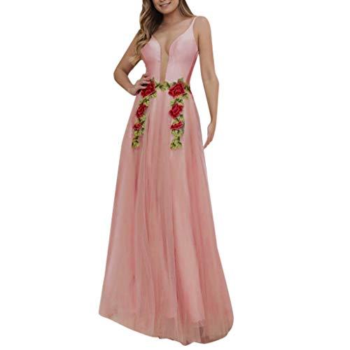 Beikoard Damen V-Ausschnitt Sling Rückenfrei Hochzeitskleid Slim Elegantes Partykleid Abschlusskleid Abendkleider Fit & Flare Kleid Rosa