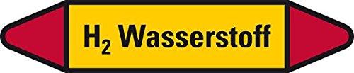 LEMAX® Rohrleit.etikett H2 Wasserstoff,gelb/schwarz/rot,für Ø 40-60mm,179x37mm,5/Bogen 3 Stück