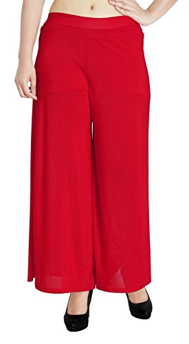Bossify Women's Nylon Palazzo (KEBP_05_RED_Red_Free Size)