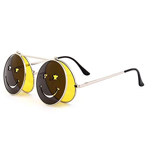 NECCT Steampunk Sonnenbrillen Herren und Damen Metall Brille Runde Smiley Design Retro Steampunk Flip Sonnenbrille,C4