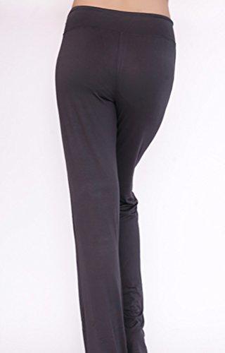 Baymate Femme Elastique Pantalon de Yoga Danse du Ventre Fitness Pantalons Sport Grande Taille Sombre Gris