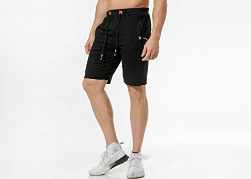 Chyu Herren Beiläufig Shorts Baumwolle Sport Jogger Classic Fit Sommershorts, elastische Taille Reißverschlusstaschen (Schwarz, XL) -