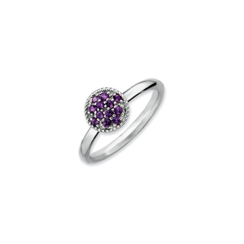 Black Bow Jewellery Company : Rhodium Plated Sterling Silver Stackable Amethyst Ring