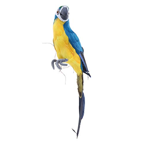 FLAMEER Perroquet Réaliste Oiseau Artificielle Mousse + Plume Artificielle - Bleu