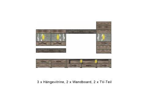 6-tlg. Anbauwand in San Remo Eiche-Nb/Schiefer-Nb., inkl. Soft-Close, Türstopper und Beleuchtung in weiß, Gesamtmaß: ca. 300/203/40 cm - 3