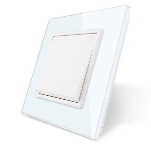 Preisvergleich Produktbild LIVOLO Weiß Lichtschalter Kipp-/Wippschalter mit Glasrahmen VL-K1-11-A