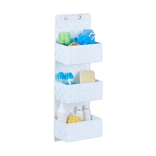 Relaxdays 10022543_49 organizer da parete in stoffa portaoggetti da appendere 3 cestini portatutto plastica hlp: 75x25x15cm bianco