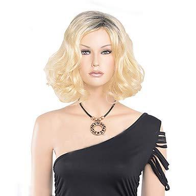 FUHOAHDD Ombre synthetische Perücken billig Kurze Blonde Perücken synthetische sexy weibliche schöne natürliche wellige aussehende Frauen Perücken, Blonde