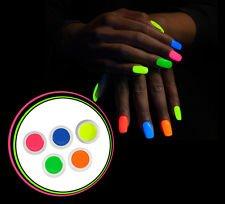 kit 5 gel uv neon fluo unghie nail art ricostruzione fluorescenti glow unghia