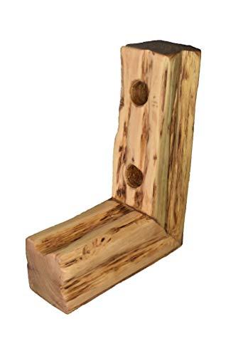 Wood & Wishes - Rustikaler massiv Holz Wein Ständer, gefertigt in Handarbeit; Treibholzoptik; Landhausstil; dekoratives Unikat