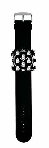 S.T.A.M.P.S. Stamps Uhr KOMPLETT - Zifferblatt Cat you mit Lederarmband schwarz