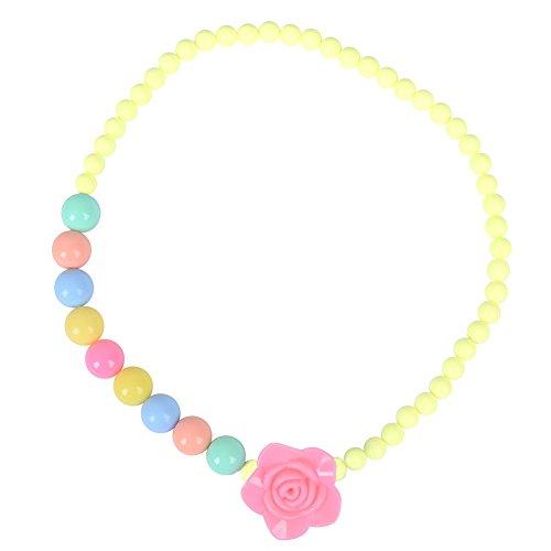 skette Mädchen Blume Perlen Halskette Kleinkind Kinder Kostüm Schmuck für Kinder (Gelb) (Prinzessinnen Anzieh)