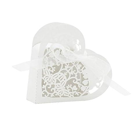 Lot de 20 Boîte à Dragées Coeur Bonbonnière en Papier
