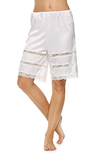 Avidlove Damen Satin/Spitze Glatt Dessous Lang Rock mit Spitzensaum Unterrock Einfarbig Midi Weiß