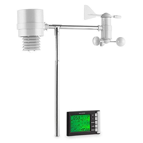 oneConcept Montgolfier • Wetterstation • Funk-Wetterstation • 4 Sensoren • Anzeige Niederschlagsmenge • Temperaturmessung • Luftfeuchtigkeitsmessung • Windrichtung- und Geschwindigkeitsmessung • LCD-Display • Witterungsalarm • Auswertungen • silber -