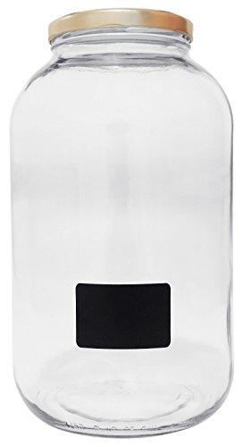 Schraubverschluss Glas-wasser-flaschen (Viva Haushaltswaren #19665# Xxl Einmachglas 4250ml mit Schraubverschluss, Vorratsglas Glasdose inklusiv Beschriftungsetikett Vorratsdose, Glas, Transparent, 15.9 x 15.9 x 27.7 cm)