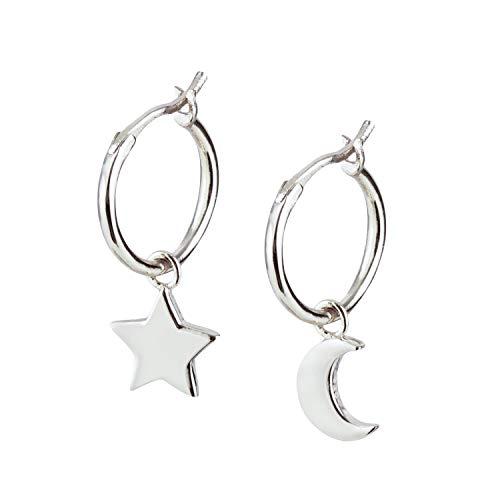 hänger Mond und Stern. Creolen aus 925 Sterling Silber und 14K Gold Plattierung. Handgearbeitete Ohrringe Gold Mädchen, designed in Deutschland. ()