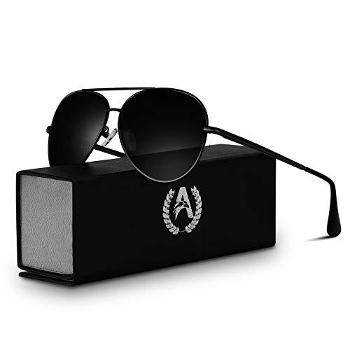 VVA Gafas de sol Hombre Polarizadas Aviador Hombres Aviador Gafas de sol Polarizadas Hombre Unisex Protección UV400 por V101(Negro/Negro)