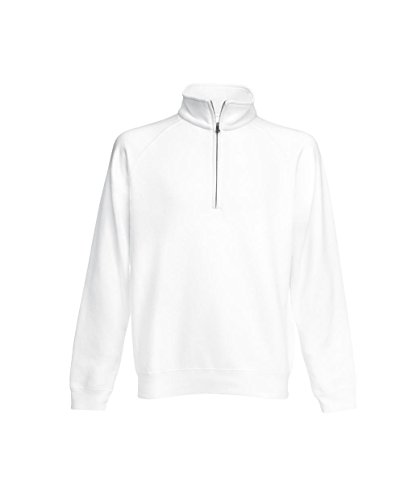 Fruit of the Loom: Zip Neck Sweat 62-114-0, Größe:2XL;Farbe:White (Sweater Zip)