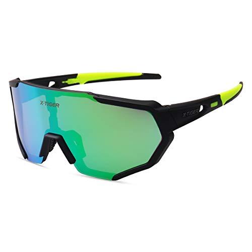 X-TIGER Gafas Ciclismo polarizadas con 3 Lentes Intercambiables UV 400 Gafas Deportivas, Corriendo,Moto MTB Bicicleta Montaña,Camping y Actividades al Aire Libre para Hombres y Mujeres TR-90