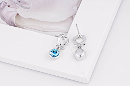 Yellow Chimes Crystals from Swarovski Designer Cross Hearts Blue Earrings for Women and Girls