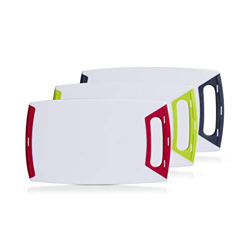 Schneidebrett eckig mit Griff, mittel 30x18cm, Kunststoff weiß in 3 Farben abgesetzt, Vesperbrett, Frühstücksbrett (3er Set, je 1x rot, grün, grau)