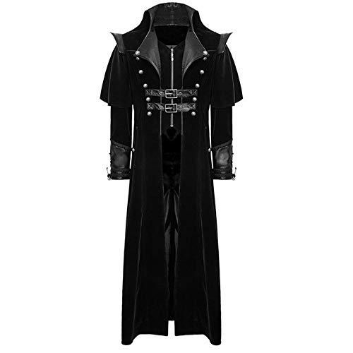 Riou Weihnachten Mäntel Herren Frack Jacke Retro Gothic Gehrock Uniform Kostüm Steampunk Party Hochzeit Abendkleid Cos Revers Dovetail Oberbekleidung (L, Schwarz B) -