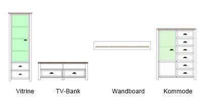 Anbauwand in weiß mit Applikation in San Remo-Eiche-NB, bestehend aus: Vitrine, TV-Bank, Kommode und Wandboard, Gesamtmaße: B/H/T ca. 280/193/36-43 cm - 6