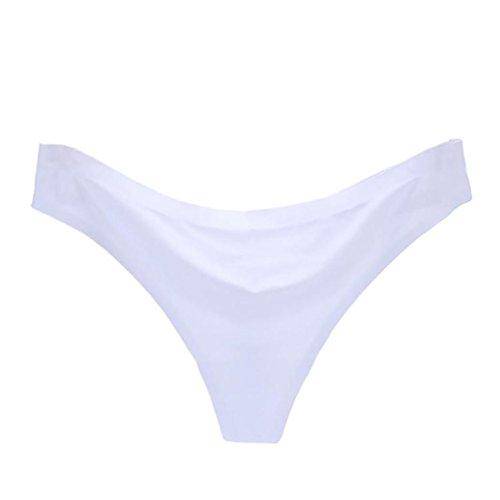 URSING Damen Sexy Unsichtbar Unterwäsche Slip G-Saiten Eis Seide Nahtlos Schritt Seamless Panties Frauen super weiche Hipster Slip Reizvolle Einfarbig Briefs gemütlich Unterhose (M, Weiß) (Bikini-höschen Bein-spitzen-weiße)
