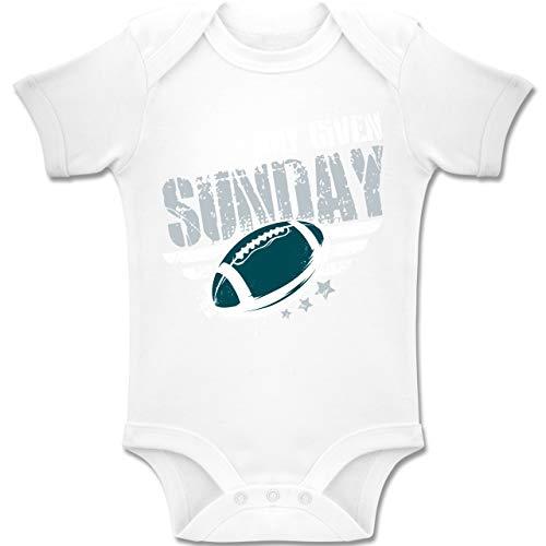 Sport Baby - Any Given Sunday Football Philadelphia - 1-3 Monate - Weiß - BZ10 - Baby Body Kurzarm Jungen Mädchen (Philadelphia Eagles Geburtstag)
