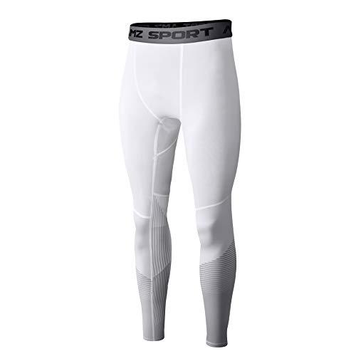 AMZSPORT Herren Sport Kompressionshose Laufhose Baselayer Leggings Trainingshose (Weiß - XL)