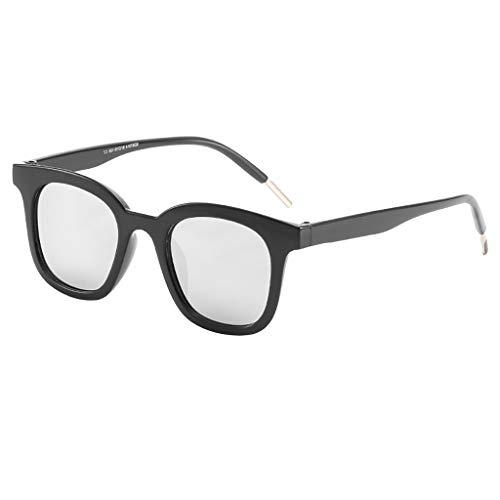fazry Herren Damen Einfach Mode Jahrgang Flacher Spiegel Mode Brille Brillen Sonnenbrille(Silber)