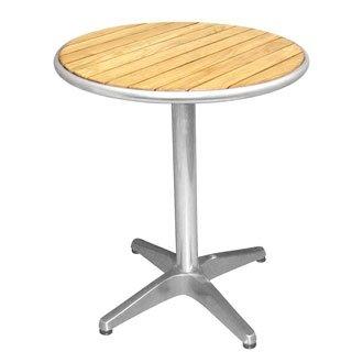 Garten/Innenhof Esche Top rund-80cm-Tisch Bistro mit Alu-Kante & Behandlung Top 4kg Base-stilvoll und robust Möbel für Ihren Garten - Wicker Base