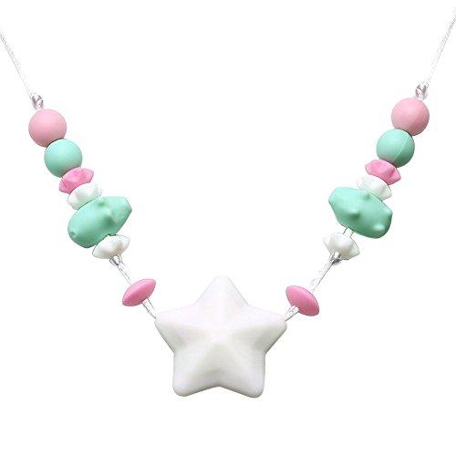 einzigartiges Silikon Zahnen Halskette für Mama zu tragen Ur Babys Kinderkrankheiten Spielzeug bpa frei Stern-Perlen-stylish,