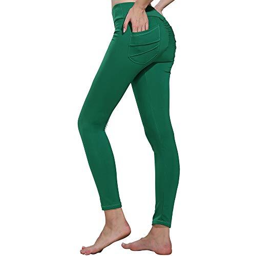 Pantalones 7/8 Mujer Yoga Color Sólido Running 7 Fitness Lounge Pantalón Atlético Polainas para Mujer Gym Elasticos Deportivo Yogas Apretado (XL, Verde)