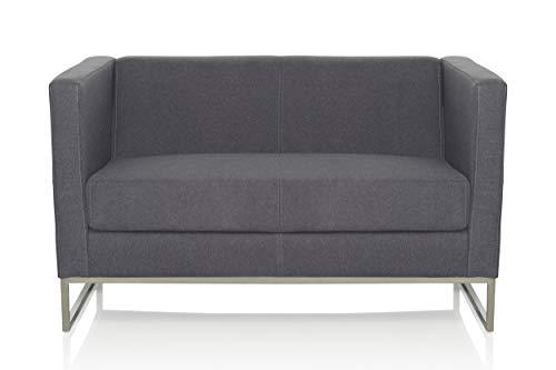 Office-sofa (hjh OFFICE 713502 Lounge Sofa Barbados Stoff Grau Moderne 2-Sitzer Couch für höchsten Sitzkomfort)