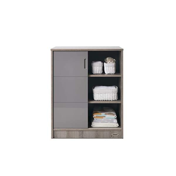 Obaby Madrid Storage Unit - Eclipse Obaby Left side offers the option of a hanging rail and shelf or three shelves Right side has 3 fixed shelves Option to add the removable changing top to turn into a changing unit 2