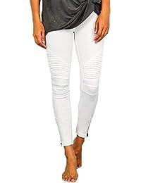8c81dfa660a69 Jeans Slim Fit Stretch Femmes Occasionnels pour Leggings avec Fermeture À  Glissière Couleurs Jeune Unies avec