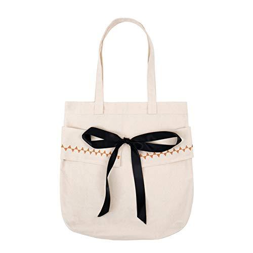 Oyfel Canvas Tote Bag Natürliche Baumwolle Einkaufstaschen Schulter Handtaschen Süßes Bowkont Muster Damen Fashion groß Größe für Studenten Reisen weiß weiß 32 * 38cm -