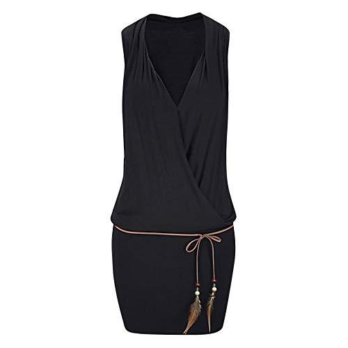Skang Damen Einfarbig Ärmellos Kleider Freizeit V-Ausschnitt Strandkleid Minikleid Partykleid Mit Gürtel Und Anhänger(M,Schwarz)