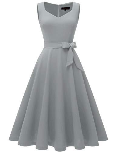 Bridesmay Robe Femme Vintage Années 50 Pin Up Robe de Soirée Col en V sans Manche Grey XL
