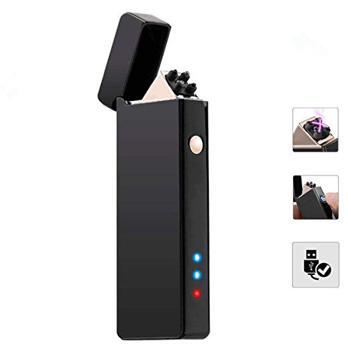 MOHOO Mechero Electrónico Innovador USB, Encendedor Elegante Antiviento Doble Arco Sin Llama...