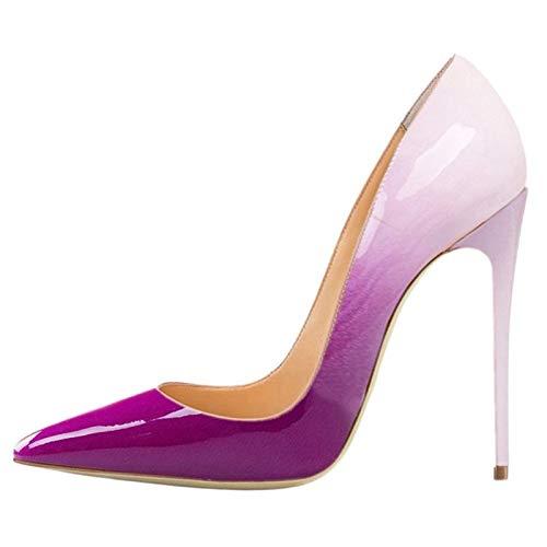 MENGLTX High Heels Sandalen Große Größe 35-45 Pumpt Frauenschuhe Spitze Flache Schuhe Der Zehe, Die Elegante Art Und Weise Stilettabsätze, Die Schuhe 13 Wedding Sind, Weißes Lila (Wedding Lila Und Weiße)