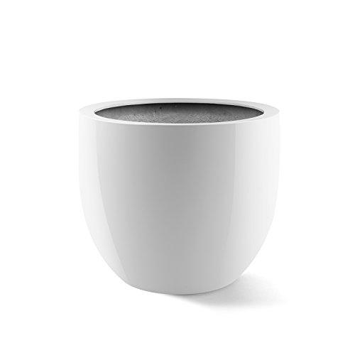 """Pflanzkübel """"Argento Egg Pot"""" Weiß Hochglanz Rund Fiberglas *5 Jahre Garantie* - 36x36x31cm - F1137"""
