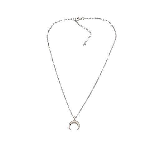 (TINGSU Personality Mond Halskette Weibliche Schlüsselbein Kette Halbmond Anhänger Halskette (Silber))