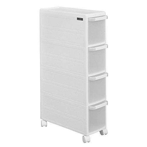 SoBuy® FRG41-W Rollwagen mit Vier Schüben Nischenwagen mit 2 Deckplatten Schubladencontainer Küchenregal (Weiß)